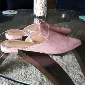 Blush pink slip on pointed toe faux suede mules